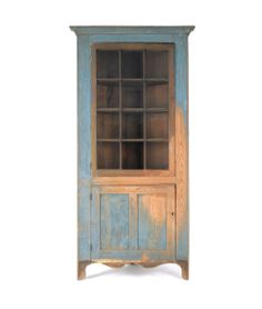 "Painted hard pine one-piece corner cupboard, early 19th c., 87"" h., 38"" w."