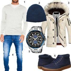 Winteroutfit mit Tommy Hilfiger Pullover und Mütze (m0783) #pullover #parka #jeans