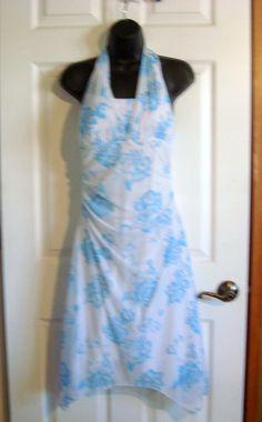 Vanity Light Blue & White Floral Padded Halter Dress Size M..$7 at BestDressedPoorGirl
