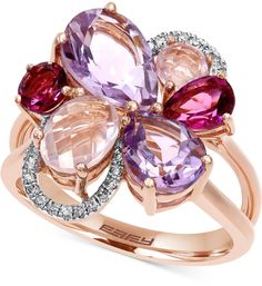 Mosaic by EFFY #Diamond Accent and Multi-Stone Flower Ring in 14K Rose Gold