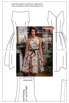 Free Sewing Patterns dress 1950s party frock