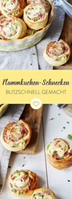 Schnell, schneller, blitzschnelle Flammkuchen-Schneckchen – direkt auf die Hand … Fast, faster, lightning-fast Tarte Flambée – right on the hand and so delicious that small and large have nothing to complain about. Party Finger Foods, Snacks Für Party, Snacks Pizza, Holiday Snacks, Pizza Pizza, Party Desserts, Healthy Snacks, Healthy Recipes, Fast Recipes