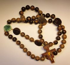 Wooden Wall Rosary Large Brown Wood Rosary by secondarycreations