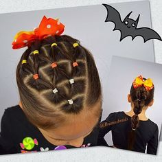 Another Halloween hairstyle, candy corn elastics into a faux fishtail bubble pony. Adorable candy corn bow by @darlingroseboutique inspired by lovely Angie @_angieshairstyles_ #halloweenhair #braidsforlittlegirls #hairstyles_for_girls #hairideas #inspirationalbraids #hotbraidsmara #featuremebraids #hairinspiration #braidsbyu #tophairfeatures #sweetheartshairdesign #cghphotofeature #candycornhair #instabraid #instahair #lrbfeatureme #featuremejehat #girlshairstyles #longhairdontcare…