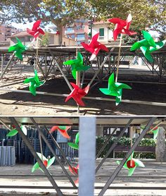 """Pinwheels street decoration: the inclusion reaches Town Art! Made by the """"BenestArt workshop"""" artists group (mental illness/disability) / BenestArt per la Salut Mental. Cugat del V. Pinwheels, Mental Illness, Disability, Street Art, Workshop, Group, Christmas Ornaments, Space, Decoration"""
