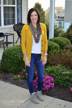 Mustard Cardigan with Leopard Scarf and Toms Desert Booties