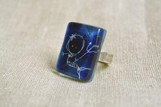 Mermaid ring  Cobalt blue ring  Fused glass ring  by BGLASSbcn