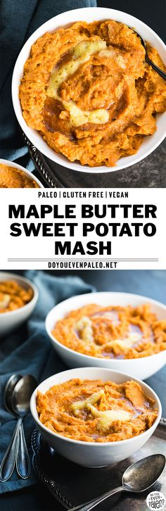 This maple butter sweet potato mash will become one of your favorite healthy side dish recipes! It's paleo, gluten free, vegetarian, and simply amazing. With roasted sweet potatoes, a little maple syrup, ghee, and a dash of coconut milk, this healthy paleo recipe can be whipped up quickly! | DoYouEvenPaleo.net #paleo #glutenfree
