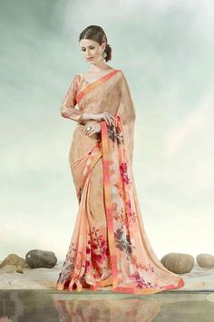 Georgette Peach Casual Printed Saree