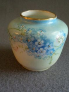 William Guerin Limoges Hand Painted FMN Pattern Miniature Vase