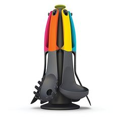 "Joseph Joseph ""Elevate"" Utensil Set with a carousel. $50. Weighted handles so the utensil head never touches the counter!"