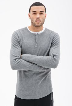 21men 21 MEN Paneled Thermal Henley on shopstyle.com