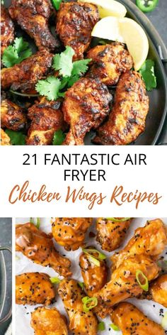 """Air Fryer Chicken Wings recipes are the perfect way to give """"typical"""" chicken wings a MAJOR upgrade. So much delicious flavor and such wonderful, crispy texture … all with sooooo much less fat, calories and guilt! Plus, check out my 6 bonus health-ification tips, too! Chicken Wing Recipes Healthy, Great Chicken Recipes, Fast Healthy Meals, Easy Healthy Recipes, Eating Healthy, Delicious Recipes, Whole Food Recipes, Keto Recipes, Vegetarian Recipes"""