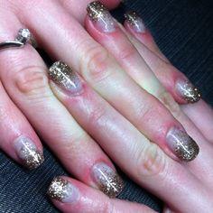 Smoky Quartz Glitter gel nails