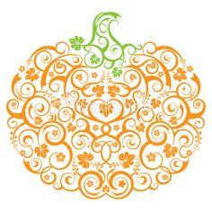Stylized Pumpkin Royalty Free Stock Vector Art Illustration