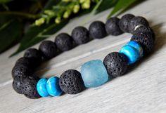 Mens Blue Ghana Bead and Volcano Rock Bracelet