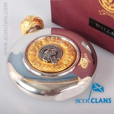 Wallace Clan Crest Flask. Free worldwide shipping available