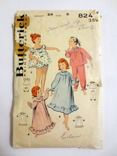 Vintage Butterick Sewing Pattern 8247 (1940s) Girls Nightgown and Pajamas - Size 6 - Breast 24