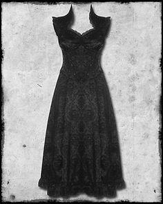 Jawbreaker Long Black Gothic Steampunk Victorian Damask Skull Vamp Corset Dress | eBay $87.08
