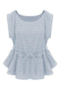 ROMWE | ROMWE Self-tie Falbala Striped Blue Blouse, The Latest Street Fashion