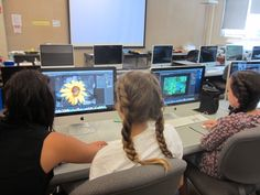 Digital Photography students work on photoshop, after shooting images from campus !