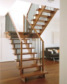 Enchanting Open Staircase Ideas Open Stairs Ideas Pictures Remodel And Decor Stylish Homes Design Wood Railing, Wood Stairs, Basement Stairs, House Stairs, Railings, Basement Ideas, Wooden Staircases, Modern Staircase, Staircase Design