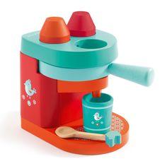 Houten espressomachine bestaande uit een koffiezetapparaat, kopje, 2 cupjes en theelepeltje✓ Alle Djeco voor 21.00 uur besteld, de volgende dag in huis.