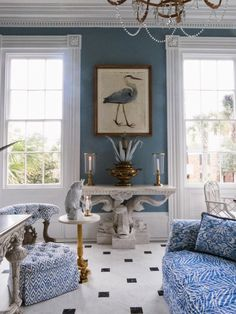 blue and white elegance