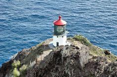 Makapu'u Point Lighthouse as seen from the viewpoint at the end of the Ka'iwi Scenic Shoreline Hike trail, Makapu'u Point, Southeast Oahu, Hawaii