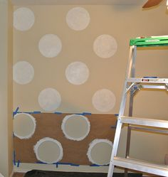 white tutorials- polka dot quilt and polka dot playroom | kojodesigns (i'm thinking blue walls with light pink polka dots but also love this beige with white...)