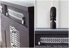 Stenciling with Tribal Stencils and African Design - Royal Design Studio Dresser Makeover Tutorial