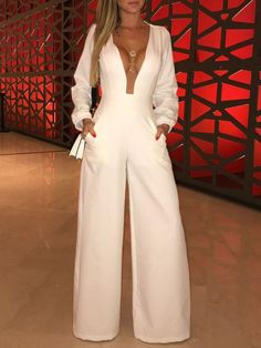 Plunge Mesh Insert Wide Leg Jumpsuit - Fashion Able Trend Fashion, Fashion Outfits, Womens Fashion, Fashion Tips, Fashion Fall, Ladies Fashion, Look Fashion, Wide Leg, Mein Style