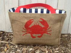 Eco-Friendly Red Crab Market Tote Bag, Handmade from a Recycled Coffee Sack