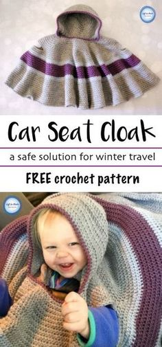 Make this free crochet pattern to keep your toddlers safe and warm in their car seat! This car seat cloak (aka poncho or cape) is a perfect way to keep your child warm without the big puffy coat. This pattern is beginner friendly and uses simple stitches. Beau Crochet, Poncho Au Crochet, Bonnet Crochet, Baby Blanket Crochet, Free Crochet, Knit Crochet, Crotchet, Crochet Vests, Crochet Baby Cocoon