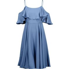 Milly Emmaline cold-shoulder ruffled silk-blend satin dress (11.435 RUB) ❤ liked on Polyvore featuring dresses, light blue, blue pleated dress, light blue cocktail dress, blue dress, milly dresses and ruffle dress