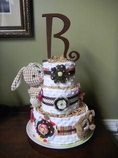 Simple Elegant and Trendy Diaper Cakes for by ClassicCityBabycakes