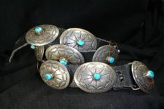 NAVAJO STERLING SILVER TURQUOISE CONCHO BELT HAT BAND NATIVE AMERICAN DEAD PAWN