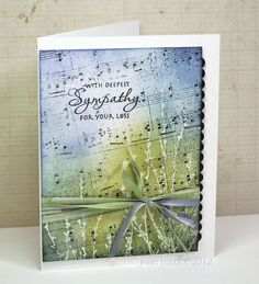 By Joan B. Stamp plants in clear VersaMark on white. Add punched scallop and ribbon. Some Cards, Get Well Cards, Thing 1, Sympathy Cards, Card Tags, Paper Cards, Scrapbook Cards, Scrapbooking, Creative Cards