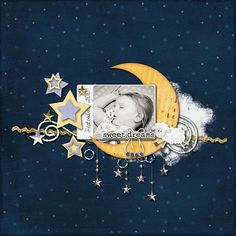 Inspiration. layout. sweet dreams baby I would move the moon to the lower right corner with the stars above #scrapbooklayouts