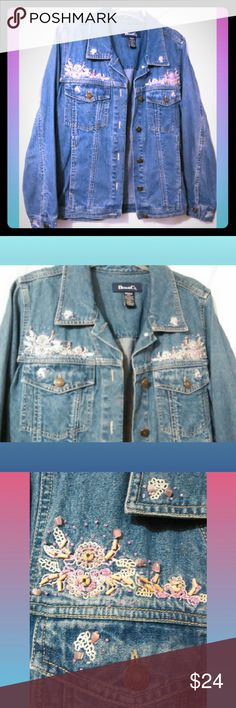 """Style & Co Denim & Lace Embellished  Jacket Med. Dressy denim Beautifully embellished Style & Co denim jean jacket. Embellished with beads&wood design. Like New condition. Women's sz.Medium Top of back collar to hem 27"""" Sleeve shoulder to cuff 25"""" Pit to pit 18"""" 01016-A2 Style & Co Jackets & Coats Jean Jackets"""