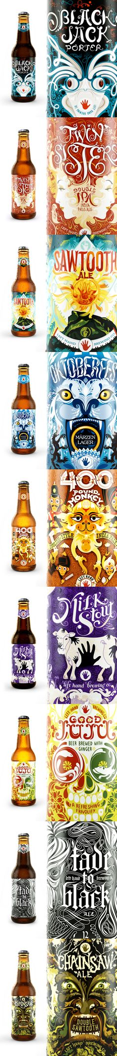 Left Hand Brewing Co. awesome beer packaging design and illustration PD