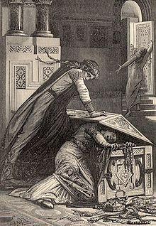 Frédégonde manque de tuer RIGONDE en 589. Illustration tirée des Vieilles Histoires de la Patrie, 1887.