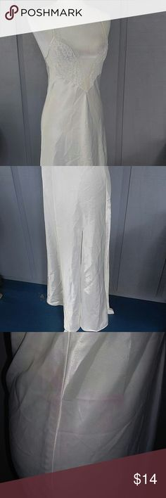 Vintage VS  off white full length  retro gown S This is so pretty.  Vintage.  It is however slightly flawed.  Some pink faded on to it.  See photo.  Could easily be dyed pink red or black.  Low price Victoria's Secret Intimates & Sleepwear