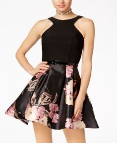 Crystal Doll Juniors' Belted Scuba & Floral-Print Fit & Flare Dress - Brown 11