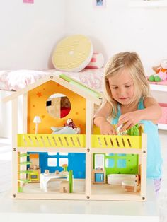 This cozy cottage is the perfect size for a small family. It even comes ready to move in! Encourage playing with friends as well as solo play. Listen to the stories your child tells as he or she plays. Pieces: 26 Recommended for ages 3 year+ Wooden Dollhouse, Toy Chest, Storage Chest, Toddler Bed, Villa, Toys, Happy, Holiday, Gifts