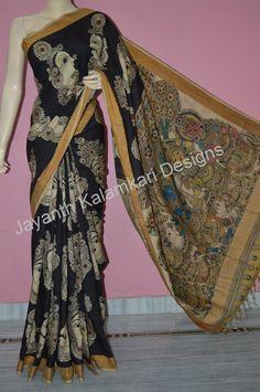Uppada pattu with pen kalamkari all over designs Tussar Silk Saree, Art Silk Sarees, Cotton Saree, Sari Silk, Indian Beauty Saree, Indian Sarees, Kalamkari Designs, Black Saree, Vogue India