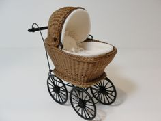 "Miniature Wicker Buggy for Dollhouses 1""."
