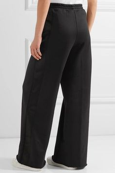 Golden Goose Deluxe Brand - Sophie Satin-trimmed Cady Wide-leg Pants - Black - small