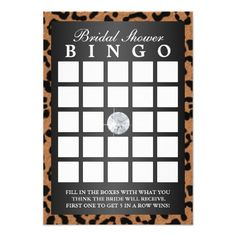 Luxury Leopard Print Bridal Shower Bingo Cards