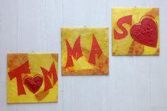 Tris piccoli quadri con nome/ Idea regalo nascita  battesimo compleanno/ Regalo personalizzato dipinto/ Piccoli dipinti con nome e cuori di PaintingsByCipeciop su Etsy
